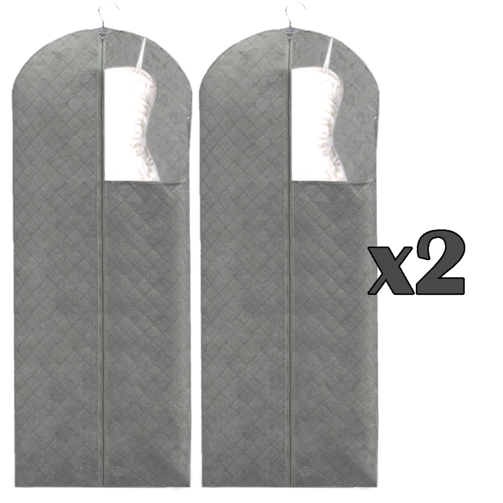 Set of 2, The Elixir Deco 60 Inch Bamboo Charcoal Dress Garment Storage Bag Cover for Long Oversize Clothes, Dust Free