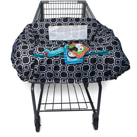 Boppy Shopping Cart Cover - City Squares Black and White The Boppy Shopping Cart Cover with City Squares in Black and White will make a fun and stylish addition to your outing routine. Its extra-large size provides baby with complete coverage on all shopping carts or high chairs. The Boppy cart cover is ideal for blocking out harsh sun rays and UV radiation, as well as moisture and cold air that will irritate delicate skin. You will appreciate the included safety strap that keeps baby locked in and secured at all times. This shopping cart and high chair cover is created using soft plush materials and even features a fun crinkle toy to keep your little one occupied.