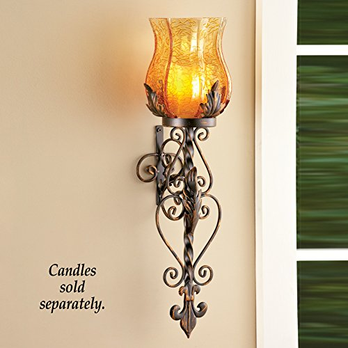 Bronze Elegant Scrollwork Decorative Hurricane Amber Glass Candle Holder Sconce Metal... by