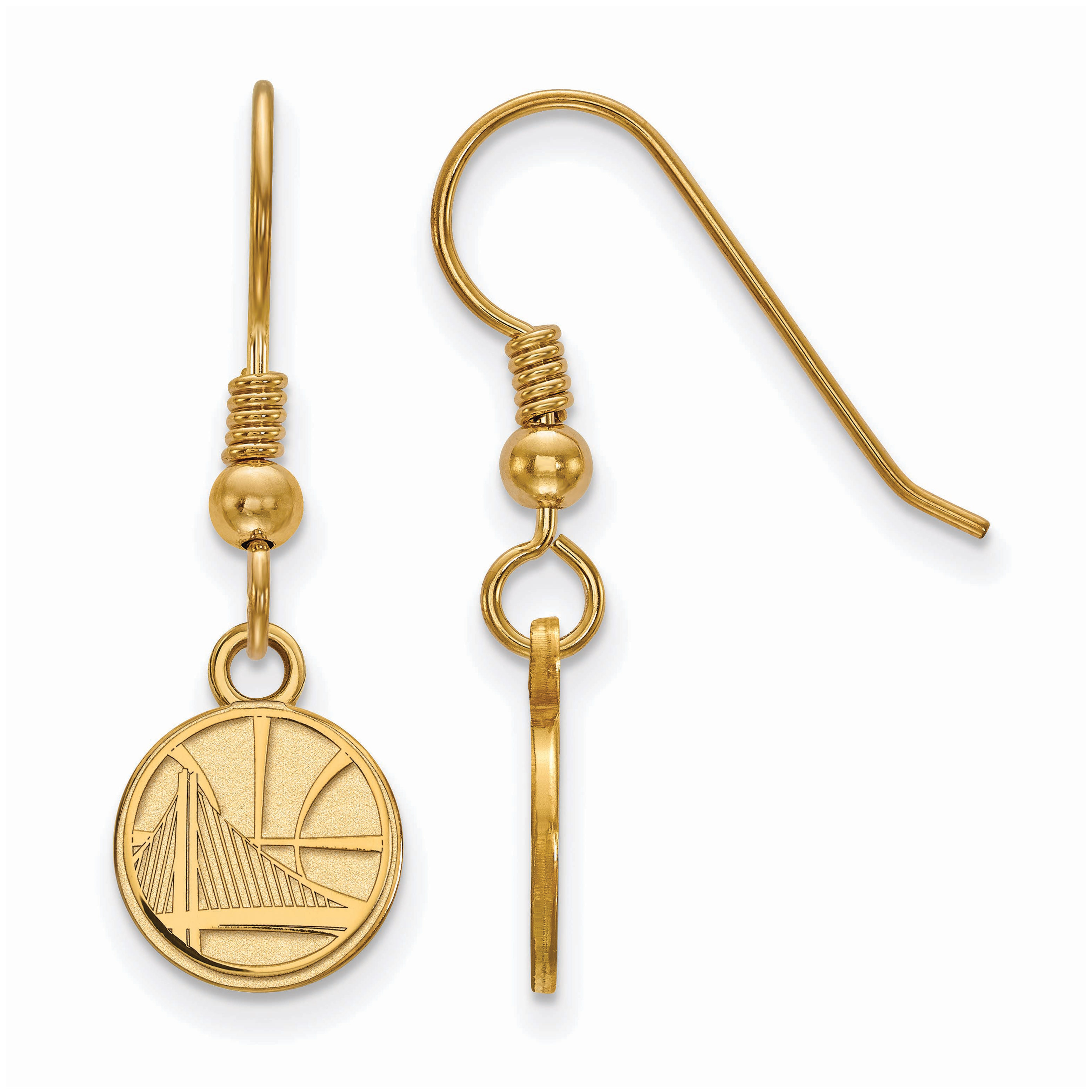 Golden State Warriors Women's Gold Plated XS Dangle Earrings - No Size