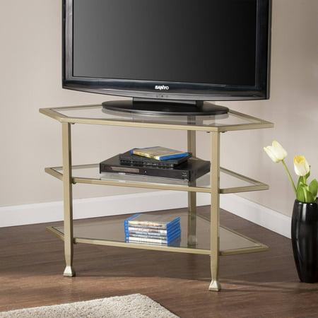 Southern Enterprises Jumpluff Metal Glass Corner Tv Stand Matte
