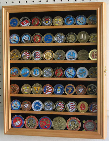 Military Challenge Coin Casino Poker Chip Display Case Shadow Box Wood Cabinet-Oak Finish by
