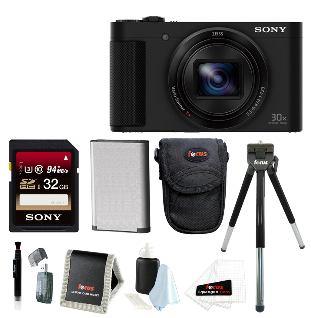 Sony DSC-HX80 High-zoom Point and Shoot Camera with Sony 32GB Memory Card & Focus Memory Card