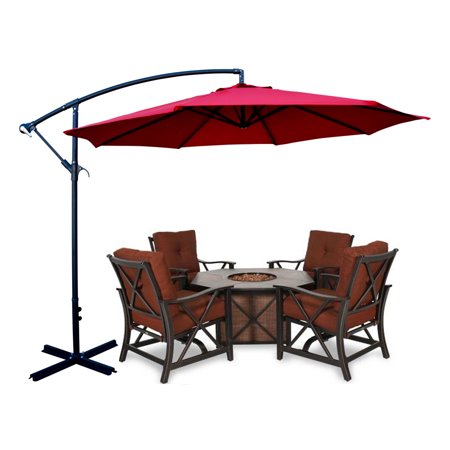 Apontus Offset Patio Umbrella Off Set Outdoor Market Umbrella 10' ft Polyester ()
