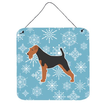 Airedale Terriers (Winter Snowflake Airedale Terrier Wall or Door Hanging Prints BB3557DS66 )