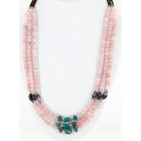 Quartz Three Strand - Certified Authentic 3 Strand Navajo .925 Sterling Silver Turquoise Pink Quartz and Amethyst Native American Necklace