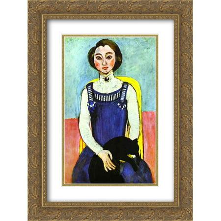 Henri Matisse 2x Matted 20x24 Gold Ornate Framed Art Print 'Girl with A Black Cat' - Henri Black Cat Halloween