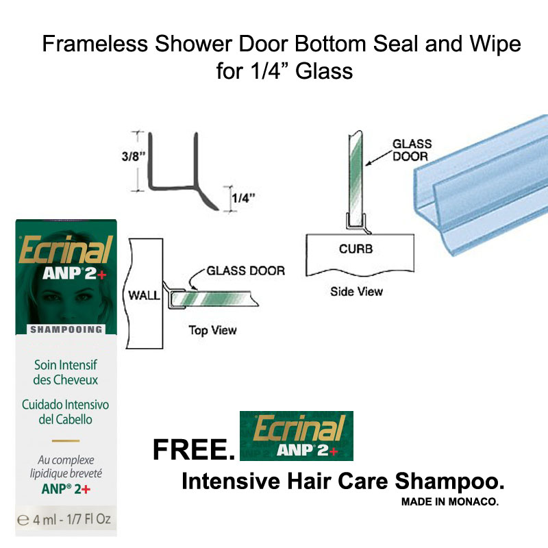 "Clear Shower Door Dual Durometer PVC Seal and Wipe for 1/4"" Glass - 32"" long with Free Ecrinal Intensive Hair Care Shampoo with ANP2 4 ml"
