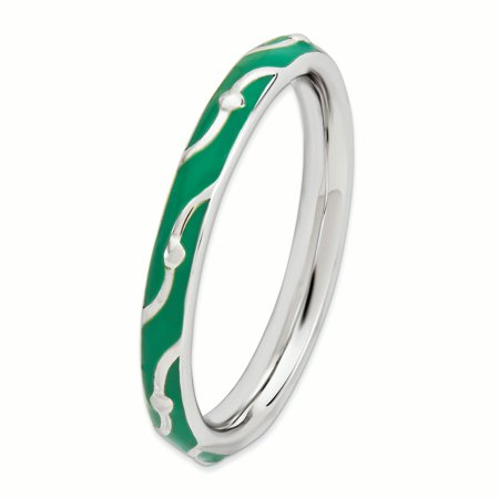 Sterling Silver Stackable Expressions Green Enamel Ring Size 7 - image 3 de 3