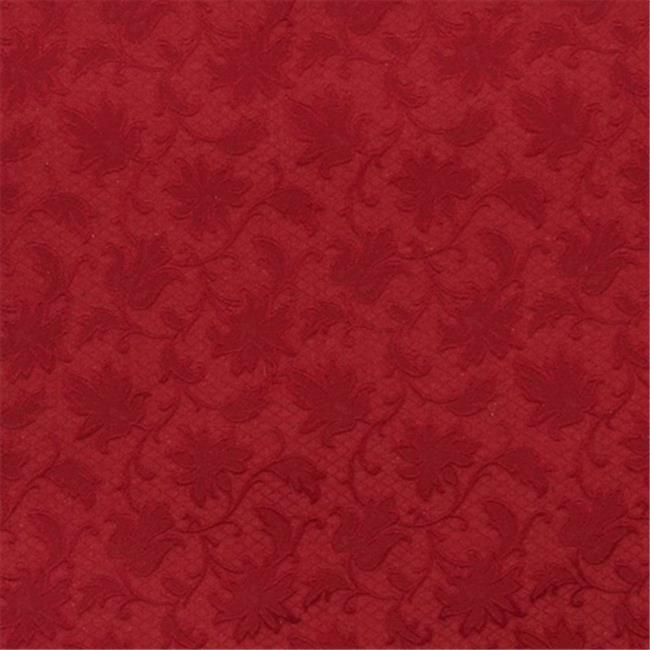 Designer Fabrics E504 54 in. Wide Red, Floral Jacquard Woven Upholstery Grade Fabric