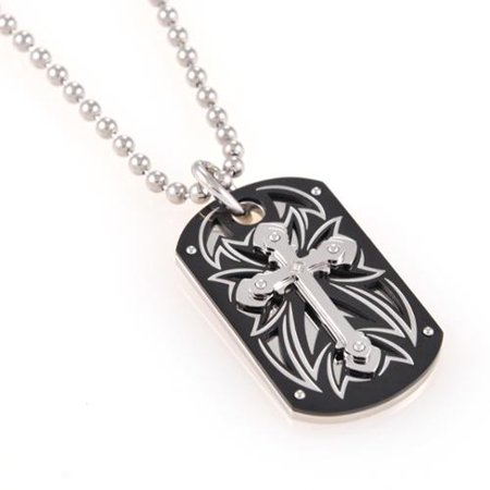 2f7f43c5d94 BLACK AND BLUE JEWELRY COMPANY INC - BLACK AND BLUE JEWELRY COMPANY INC  Stainless Steel Diamond Accent Tribal Cross Dog Tag 30-inch Necklace -  Walmart.com