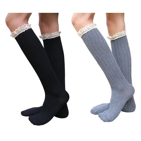 8392398d20e AM Landen - AM Landen Super Cute Lolita Style Knee High Socks Womens Socks (Black+Gray) - Walmart.com