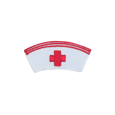 Medical Red Cross - White Nurse Cap Hat - Iron on Applique/Embroidered Patch (Applique Cap)