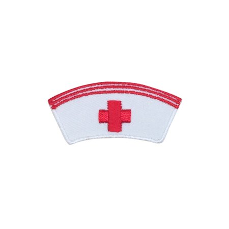 Medical Red Cross - White Nurse Cap Hat - Iron on Applique/Embroidered Patch