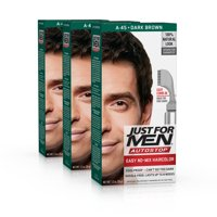 Just For Men AutoStop, Easy No Mix Men's Hair Color with Comb-In Applicator, Dark Brown, Shade A-45 (Pack of 3)