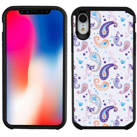 - Dual Layer Case for Apple iPhone XR, OneToughShield ® Hybrid Bumper Protector Phone Case - Paisley Purple