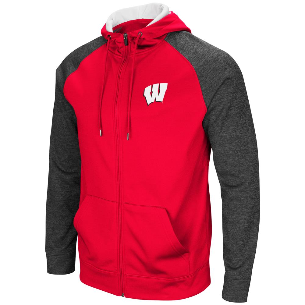 University of Wisconsin Badgers Men's Full ZipHoodie Fleece Jacket by Colosseum