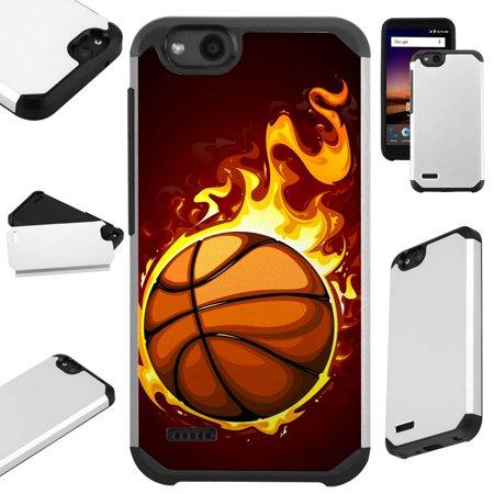 For ZTE ZFive G LTE / ZFive C / Avid 4 / Fanfare 3 / Blade Vantage / Tempo X / Tempo Go Case Hybrid TPU Fusion Phone Cover (Flaming Basketball)