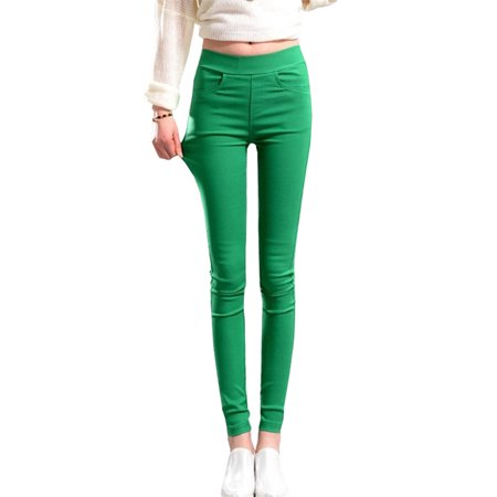 7 Colors Elastic Pants for Women Skinny Simple Style Solid Color Pencil