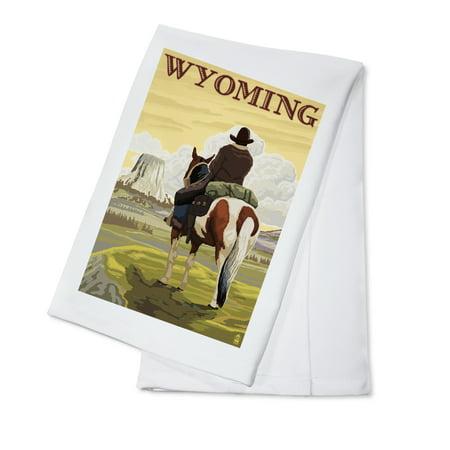 Wyoming - Cowboy and Devils Tower - Wyoming - Lantern Press Artwork (100% Cotton Kitchen Towel)