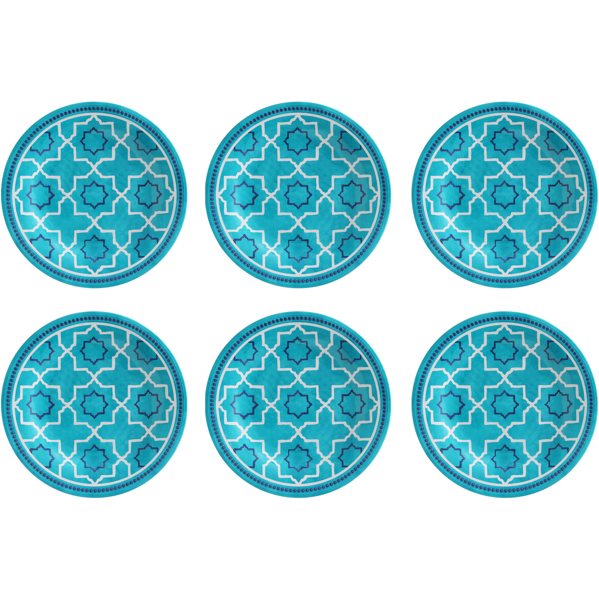 Better Homes and Gardens Teal Trellis Print Melamine Dinner Plate, 6pk