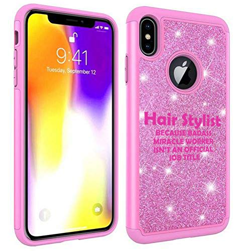 Glitter Bling Sparkle Shockproof Protective Hard Soft Case Cover for Apple iPhone Hair Stylist Miracle Worker Job Title Funny (Pink, for Apple iPhone 7 Plus/iPhone 8