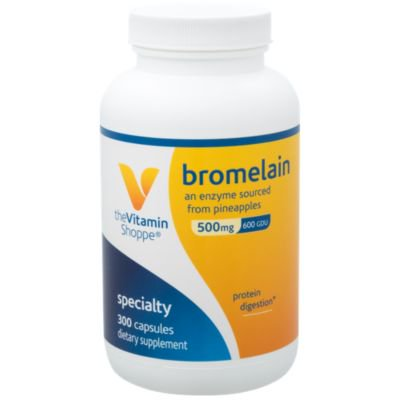 The Vitamin Shoppe Bromelain 500MG  600 GDU, Supports Protein Digestion  Absorption, Enzyme Sourced from Pineapples (300 (Foodsource Vitamin)