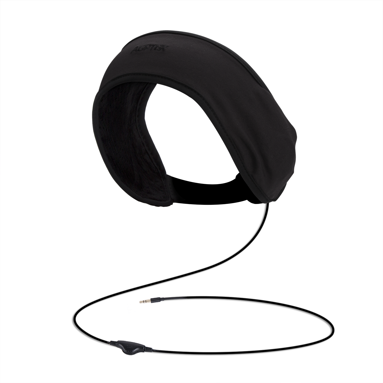 AGPTEK Sleep Headphones Soft Lycra Mesh Lining with Volume Control and Bag for Sleeping, Sports, Air Travel, Black