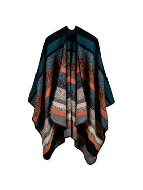 Women Striped Thick Long Cashmere Shawl