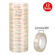 Andoer Transparent Adhesive Tape Stationery Clear Hand-teared Tape Single-sided Strong Sticky Typo for Office Home Handcraft Art 12pcs 12mm*53mm