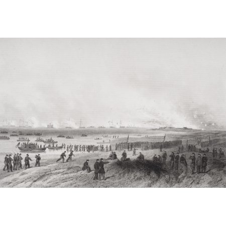 Landing The Troops During Bombardment Of Fort Fisher North Carolina 1864 From Painting By Alonzo Chappel Stretched Canvas - Ken Welsh  Design Pics (17 x
