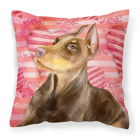 Carolines Treasures BB9796PW1818 Doberman Pinscher Love Fabric Decorative Pillow - image 1 of 1