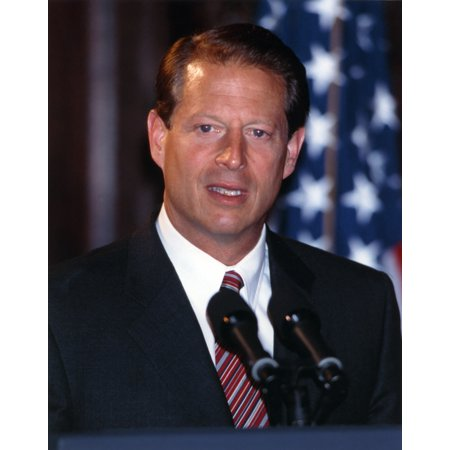 Al Gore Giving a Speech for the Public in a Portrait Photo