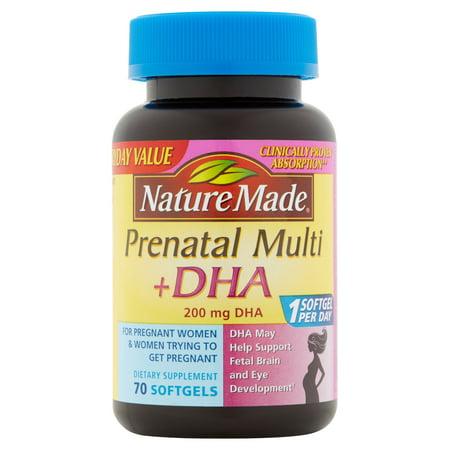 Nature Made prénatale Multi + DHA Compléments alimentaires Gélules, 70 count