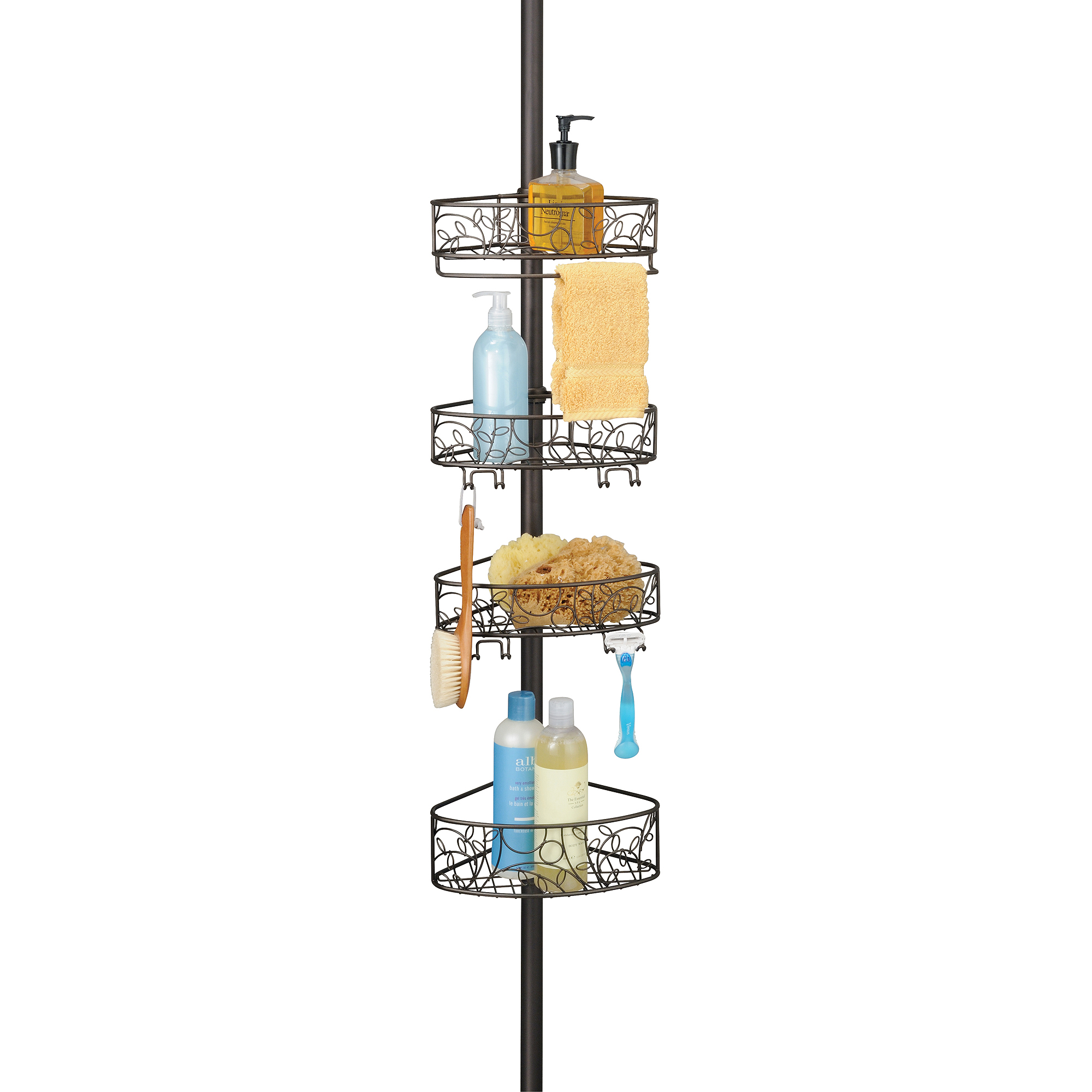 Tension Pole Corner Shower Caddy interdesign twigz tension pole caddy - walmart