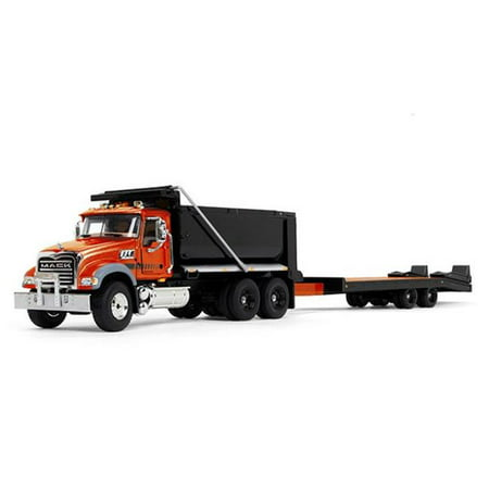 Mack Granite MP Tandem Axle Dump Truck with Beavertail Trailer Orange and Black 1/50 Diecast Model by First Gear