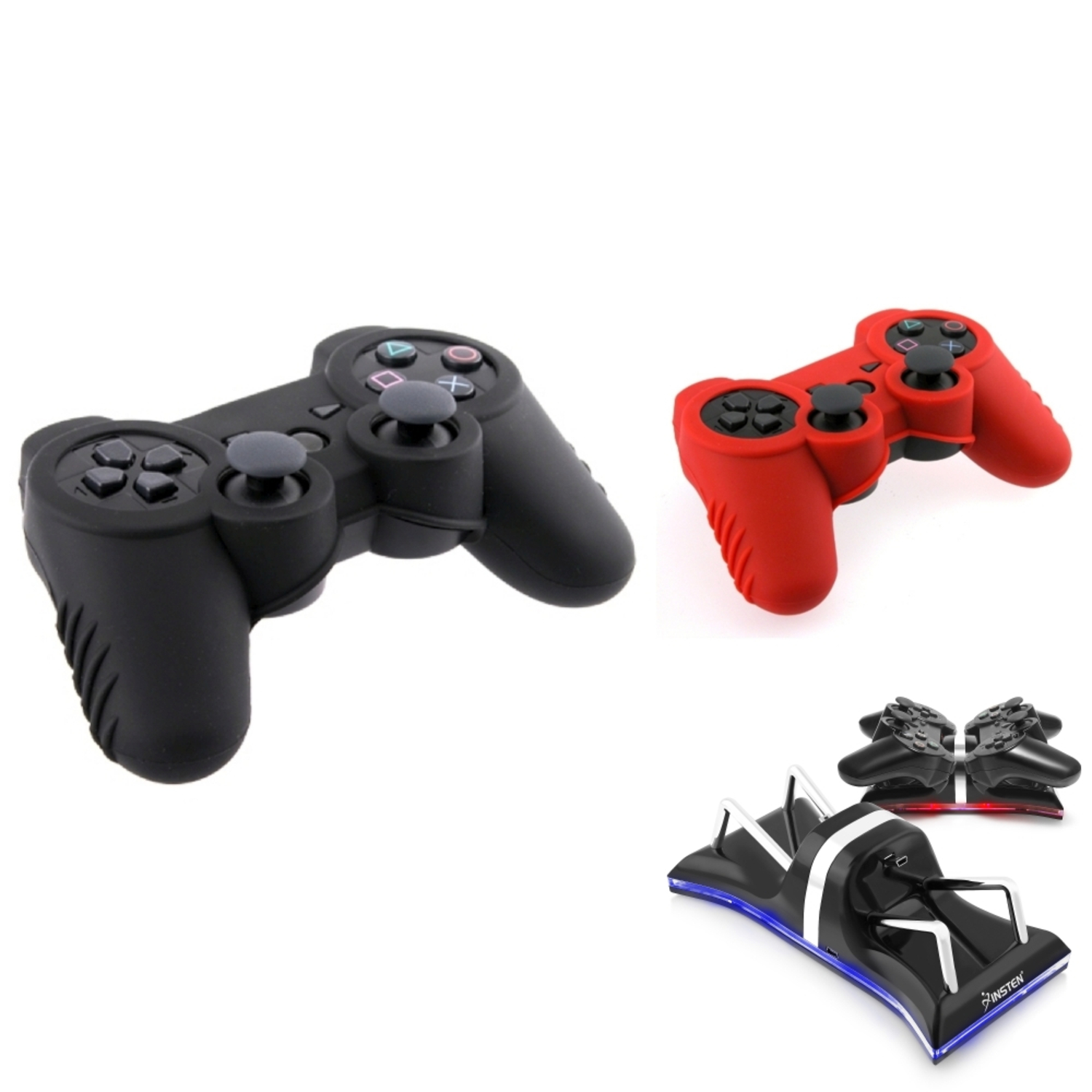Insten For Sony PS3 - Dual Remote Charging Dock Station + 2-pack Silicone Controller Skin Case Cover