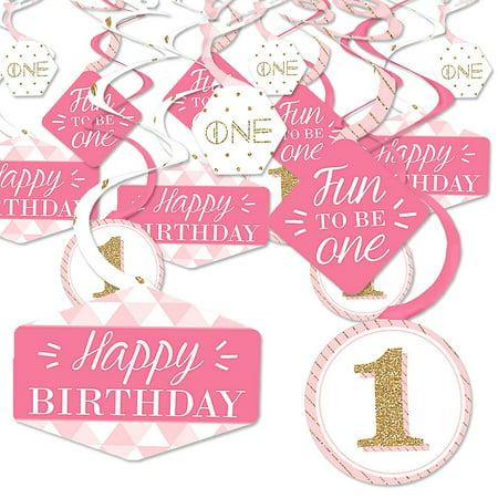 1st Birthday Girl - Fun to be One - First Birthday Party Hanging Decor - Party Decoration Swirls - Set of 40](Girl 1st Birthday Decorations)