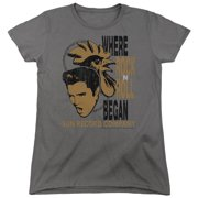Sun Records Elvis And Rooster Womens Short Sleeve Shirt