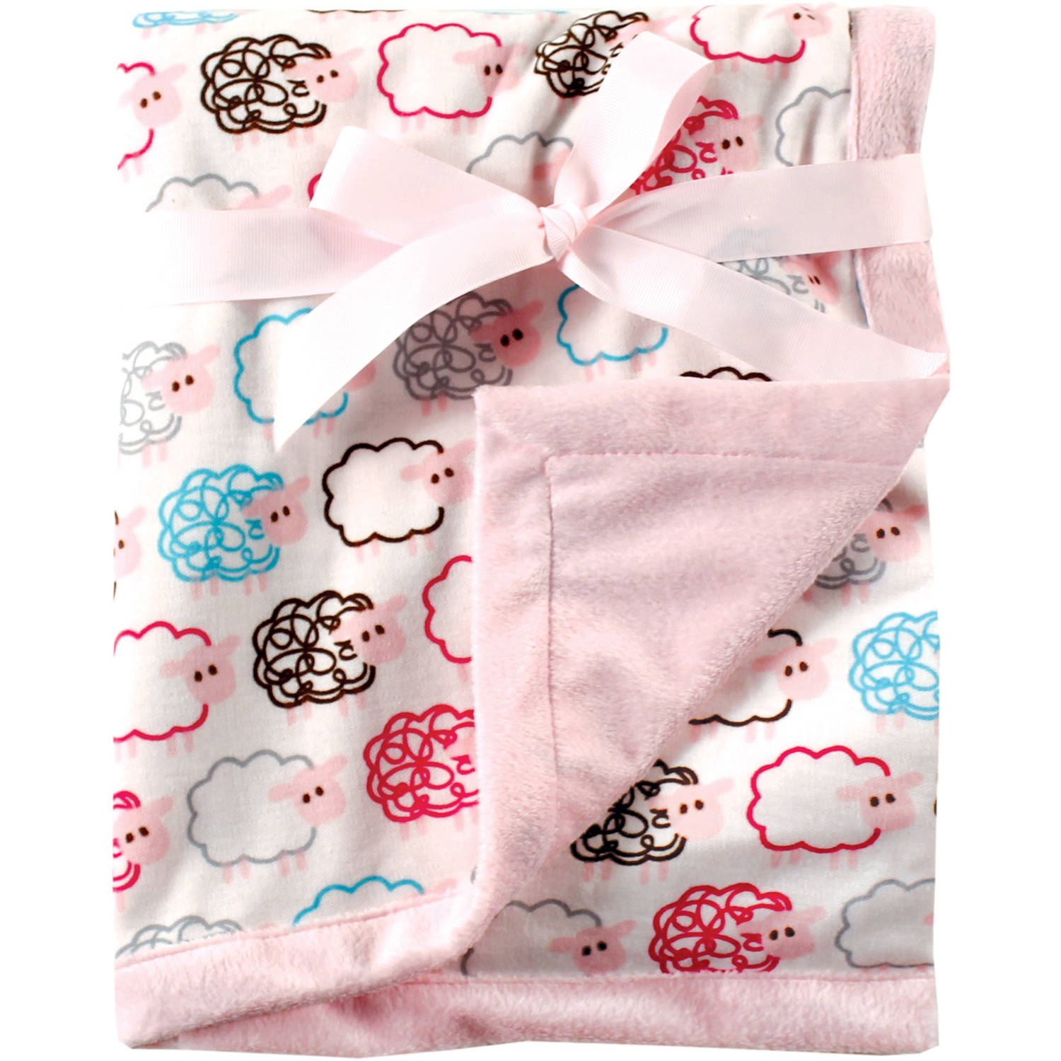 Hudson Baby Printed Blanket with Plush Backing, Pink