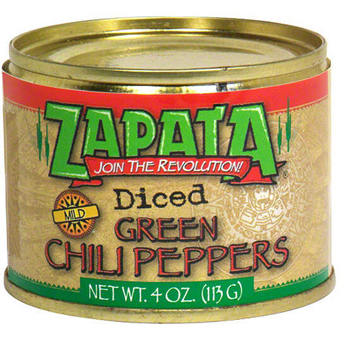 Zapata Diced Green Mild Chili Peppers, 4 oz (Pack of 24)
