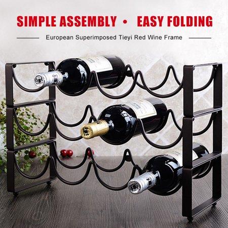 3 Tier Stackable Wine Rack, Countertop Cabinet Wine Holder Storage 12 Bottles 12 Bottle Countertop Wine