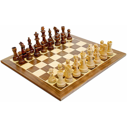 "Traditional Staunton Wood Chess Set, 14.75"" Board with 3.75"" King"