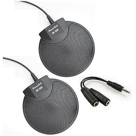 Sound Tech CM-1000 (Pack of 2) Table Top Conference Meeting Microphone with Omni-Directional Stereo 3.5mm Plug & Audio