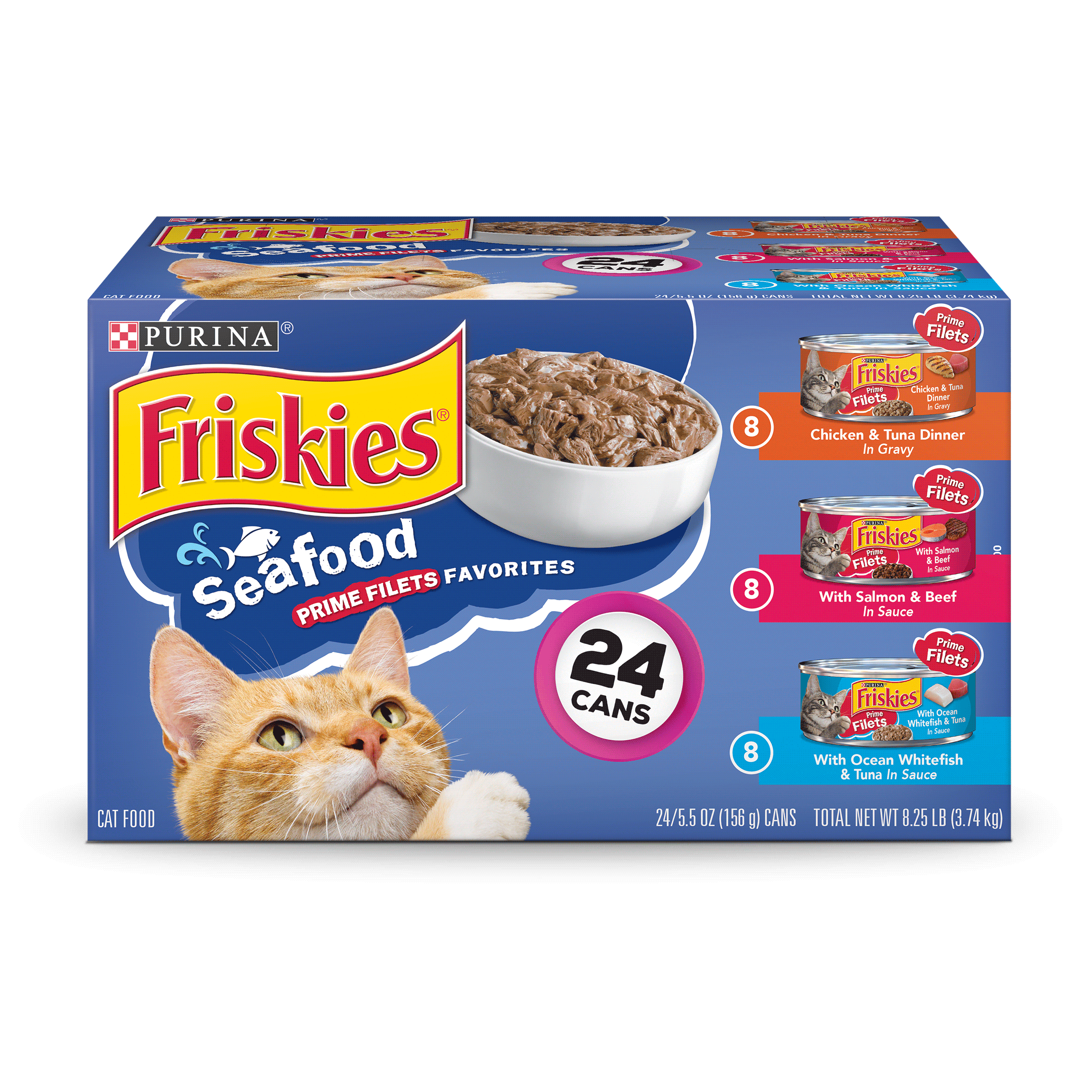 Purina Friskies Prime Filets Seafood Favorites Adult Wet Cat Food Variety Pack - (24) 5.5 oz. Cans