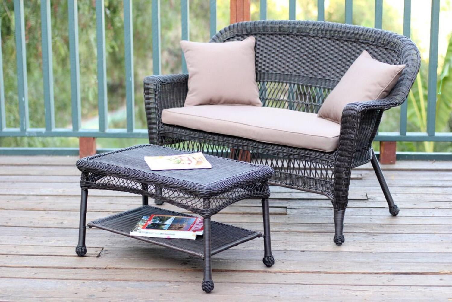 2-Piece Espresso Resin Wicker Patio Loveseat and Coffee Table Set Brown Cushion by CC Outdoor Living
