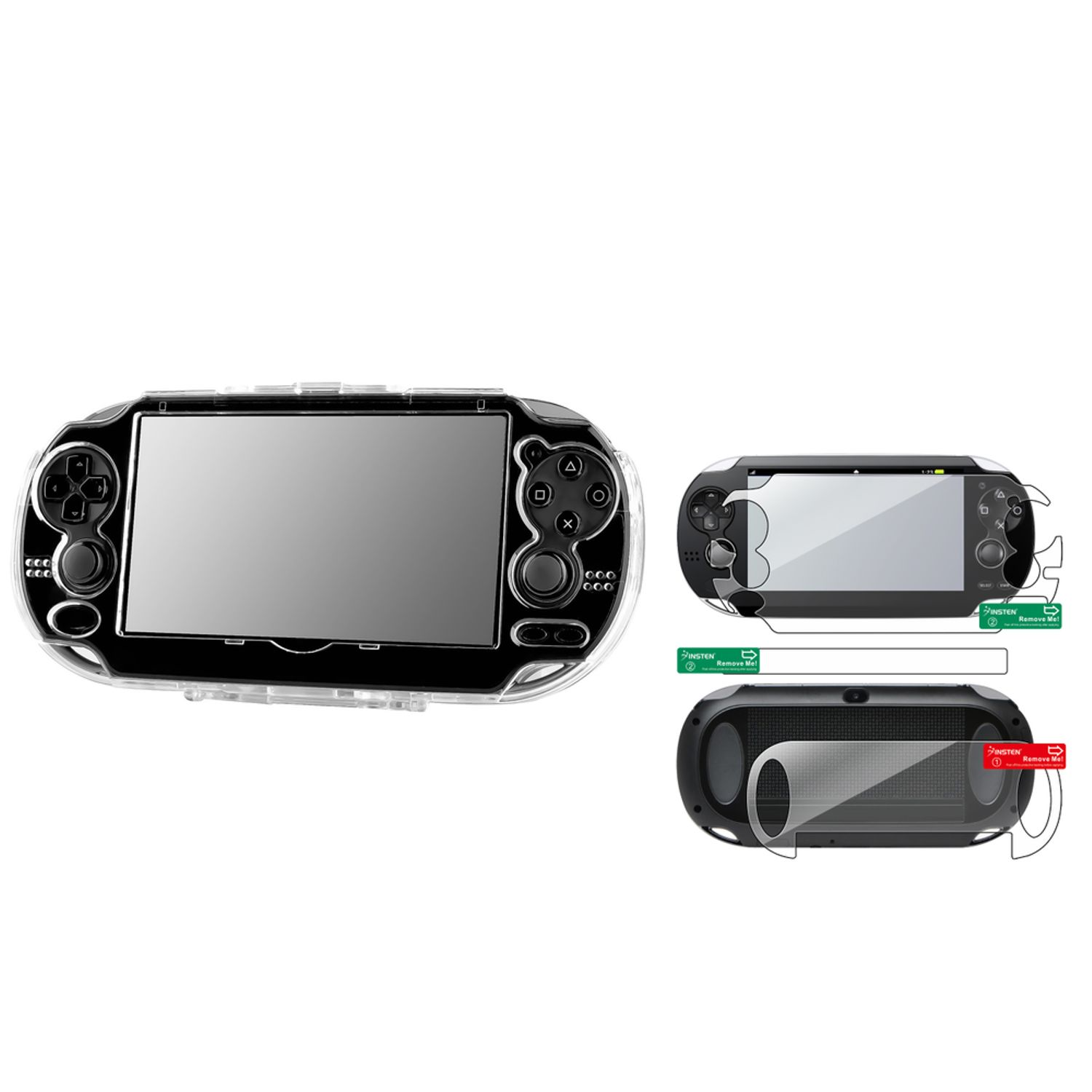 Insten Clear Hard Crystal Cover Case + Full Body Protector For Sony Playstation PS Vita
