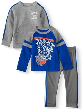 Garanimals Long Sleeve Raglan Graphic Shirt, Long Sleeve French Terry Taped Shirt, & Taped Jogger Pant, 3pc Outfit Set (Toddler Boys)