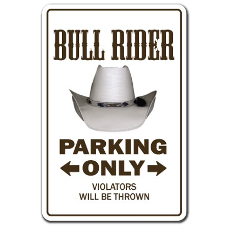 Bull Rider novelty sticker | Indoor/Outdoor | Funny Home Décor for Garages, Living Rooms, Bedroom, Offices | SignMission Rodeo Cowboy Gift Gag Funny Roping Bronco Decal Wall Plaque Decoration (Rider Decal)