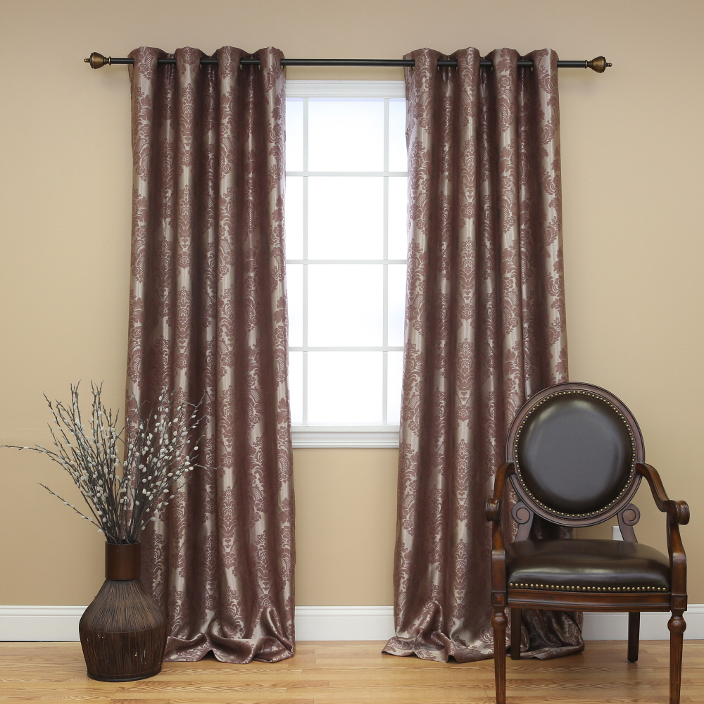 Quality Home Traditional Damask Grommet Curtain Pair